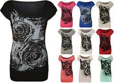 New Womens Glitter Graffiti Rose Flower Ladies Long Cap Sleeve T Shirt Top 8-14