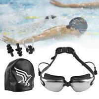 Unisex Swimming Optical Goggles Swim Cap Nose Clip & Ear Plugs Anti-Fog Glasses