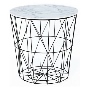 White Marble Effect Black Wire Storage Basket Round Side Table Home Furniture