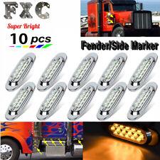 "10x 6-1/2"" Clear/Amber 16-LED Trailer Side Marker Turn Signal Lights Chromed 12V"