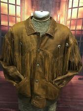 Vintage Men's Western Cowboy Indian Fringed Leather Jacket Biker Coat Sz 44 or L