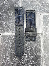 24mm Genuine Alligator Skin Watch Band PANERAI Blue Giant Hornback Tang Strap