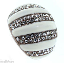 Ladies Multiple Crystal Pave Row Chocolate Gold Plated Ring Size 9