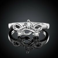 New 925 Silver Filled Inlay Crystal lady's Wedding Engagemen Ring Size 7- 8