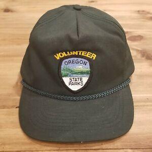 Oregon State Parks Volunteer Rope Hat Cap Strap Back Adjustable Green Otto Vtg