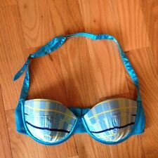 Frederick's of Hollywood Blue Plaid Halter Underwire Balconette Bra Sz S or L