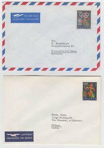 BOLIVIA 1963 TOKYO OLYMPICS Sc 461 UNLISTED OLYMPICS GAMES OVERPRINTS 2 COVERS