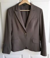 Theory Womens Long Sleeve Brownish Gray Wool Blend Hayward Blazer Jacket Size 8