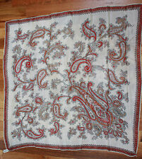 Vintage Japanese Silk Scarf In Red, Brown & Gray Paisley By Kim