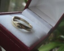 UNUSUAL 9ct Gold & Diamond MODERNIST Wedding Band Ring 1980/90s  -  size N / O