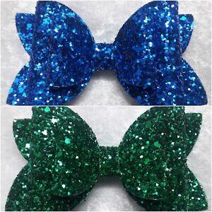 4-Inch-Sparkling-Glitter-Pink-Blue-Silver-Hair-Bow kids girls