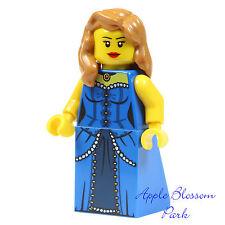 NEW Lego Movie FEMALE MINIFIG -Rootbeer Belle w/Blue Torso Dress Girl Hair 70812