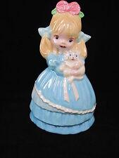 Vintage 1980s Girl Kitten Figurine Ceramic Made in USA Glazed Handmade