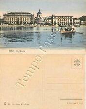 Cartolina di Como, hotel Plinius e barca a remi sul lago
