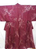 Vintage Bordeaux Silk Japanese Summer SHA KIMONO w/Flowers N872