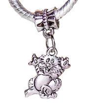 Cat Kitty Pet Tiger Kitten Animal Dangle Charm Bead for Silver European Bracelet