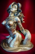 "Mermaid Statue Figurine-Siren Nude-Mythical Nautical Decor-Over 7""- SHIPS FREE!"