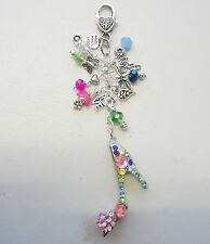 Diamonte High Heel Shoe Butterfly Love Heart Crystal Keyring Holder  Bag Charm