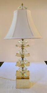 Vintage Hollywood Regency Crystal and Brass Pagoda Style Chinoiserie Table Lamp