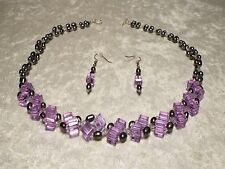 Cultured Freshwater Pearl Peacock & Crystal Lavender Necklace Set