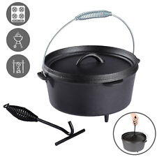 Dutch Oven Heavy Duty Portable Cooking Pot Cast Iron Campfire Camping Cookware