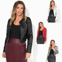 Womens Ladies Biker Jacket PU Leather Open Bolero Short Coat Shrug Cropped Top