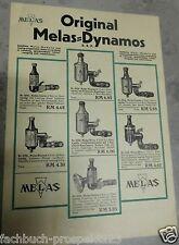 MELAS ORIGINAL WERBUNG SCHEINWERFER DYNAMOS D.R.P. JUNIOR RECORD NOVA NONOX