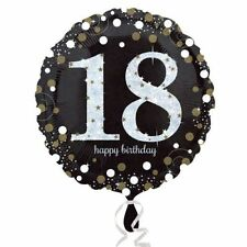 18th Foil Balloon Happy 18 Birthday Party Sparkle Helium Air Black Gold Adults