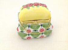 Porcelain Carpetbag Purse Pink Flowers Hinged Chain Trinket Box Vintage