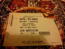 DEATH DTA EUROPE Live Concert Dublin Ireland 2013 Memorabilia Ticket