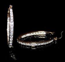 NEW! Gold Tone Crystal Oval Hoop Earrings