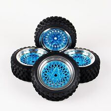 4X 1:10 Rally Rubber Tire Wheel Rim 12mm Hex For HSP HPI RC Car 10365 6mm Offset