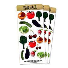 Farm Vegetables & Fruit Produce Removable Matte Sticker Sheets Set