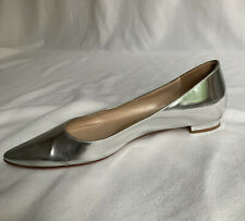 manolo blahnik 36.5 Flat Pumps Silver Metallic Leather