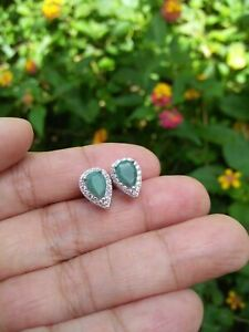Natural EMERALD 5x7mm Pear Cut & CZ Stones Sterling 925 Silver Stud EARRINGS