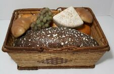 Realistic Faux Fake Food Basket Display Props Bread Croissants Cheese Grapes