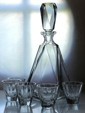 Art Deco Bohemian Clear Cut Glass Decanter Set