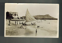 1930 Honolulu Hawaii USA Real Picture Postcard Cover to Canada Beach View
