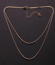 Sutil & Charming dos capas Collar Cadena de oro & Broche Ajustable (Ns25)