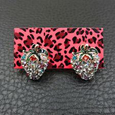 Cute White Enamel Strawberry Crystal Betsey Johnson Women Stud Earrings