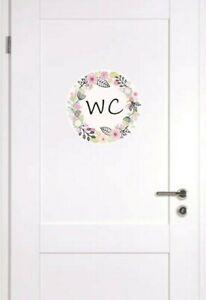 WC Aufkleber Blumen Hinweisschild Tür Toilette Badezimmer Bad Wandtattoo A148