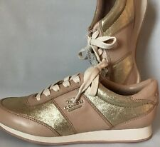 New Women's COACH Moonlight Shoes Sneakers AO1377 Premium Leather Ivory Gold Sz7