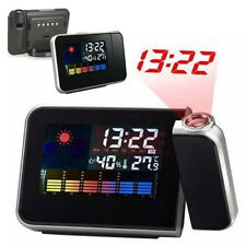 Digital LCD Time Projector Colorful Snooze Alarm Clock Weather Temperature Exoti