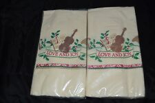 Lot of 2 Vintage Holiday Hallmark Paper Napkins VIOLIN HOLLY Guest Towels  NIP