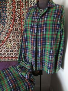 VINTAGE L L BEAN MED Green Blue Plaid Flannel Cotton Pajamas-Top and Bottom-VG
