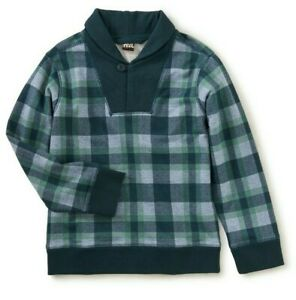 TEA COLLECTION Plaid Sweatshirt with Shawl Collar - Green/Gray - NWT Boys 8