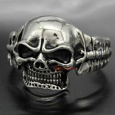 HUGE Stainless Steel Gothic Skull Biker Men's Bangle Punk Vintage Cuff Bracelet