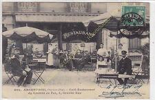 Top CPA 95100 ARGENTEUIL Café Restaurant Chemin de Fer animé Edit BLOCH ca1909