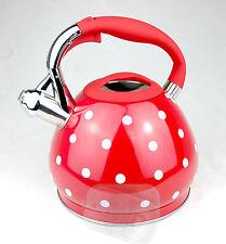 sifflant Rouge Bouilloire Sifflant pointillé à pois gaz électrique 3.5ltr litres