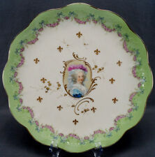 Limoges Hand Painted Madame Lamballe Portrait Pink Rose & Gilt Charger